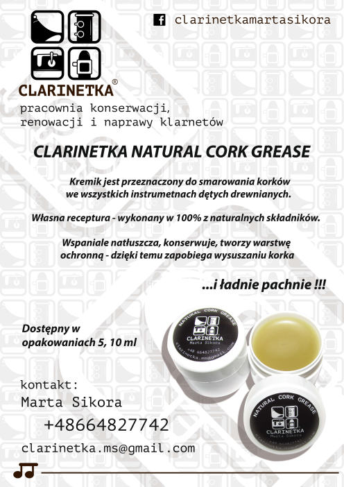 CLARINETKA NATURAL CORK GREASE