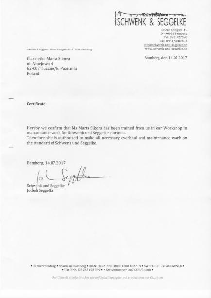 Certyfikat Clarinetka Bamberg