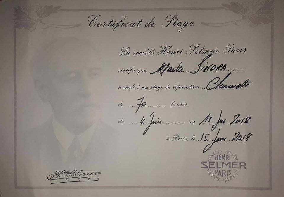 Certyfika Henri Selmer Paris